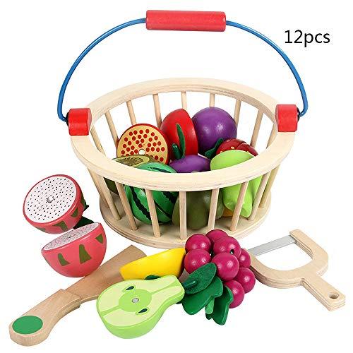 Warooma Kinder magnetisches Holzspielzeug zum Schneiden von Obst, Gemüse, Essen, Spielzeug, Spielzeug für die Küche, mit Korb für Kinder und Kleinkinder, Holz, Fruit, Large (Korb Aus Obst Holz)