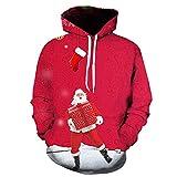Jaminy Hoodie Herren Christmas Gedruckte Pullover Halloween Langarm Lustige Weihnachten Patterned Sweatshirts für Teens Pullover (Rot -3, L)