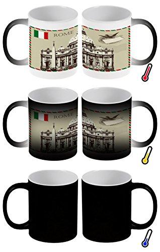 LEotiE SINCE 2004 Zaubertasse Farbwechseltasse Kaffeebecher Tasse Becher Latte Cappuccino Espresso Stadt Rom Italien