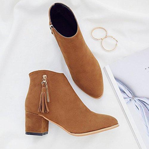 FLYRCX Im Herbst und Winter, meine Damen Spitzen schwarz Quasten, Troddeln, Oliven, Nüsse, Schuhe mit hohen Absätzen, grob Ferse kurze Stiefel, 39, B