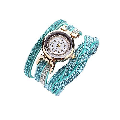 Skang Damen Uhren, Vintage Elegant Digitaluhr, Mit Mehrere Kreise Diamant Strass Armband, Für Frau Lady Teenager Mädchen(one Size,Blau)