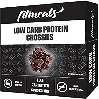 Low Carb Protein Crossies, proteinreich & ohne Zuckerzusatz, fitmeals (Edle Zartbitterschokolade, 60 GR)