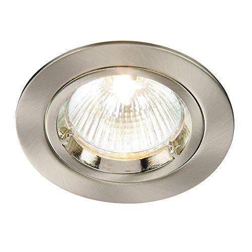 Moderne Einbauleuchte mit Drehverschluss, 50W, 240V, LED-kompatibel, Spot-Deckenlampe für Küche, Schlafzimmer, Wohnzimmer etc., GU10,IP20 Satin Nickel (Fixed) Manchester Trim