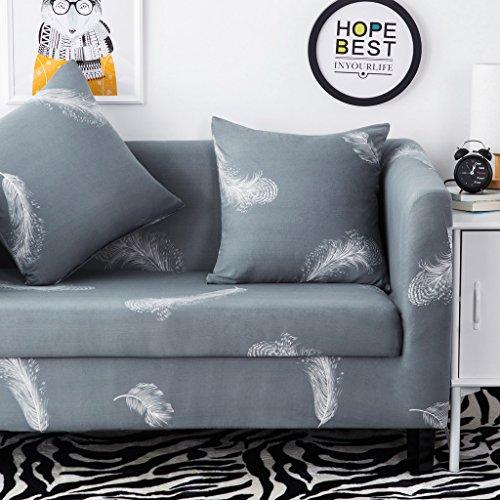 HYSENM 1/2/3/4 Sitzer Sofabezug Sofaschutz Sofaüberwurf Polyesterfasern weich elastisch farbecht, Feder 3 Sitzer 190-230cm
