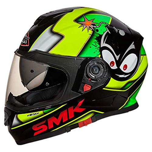 SMK MA241 Twister CARTOON Graphics Pinlock Fitted Full Face Helmet With Clear Visor (Large)