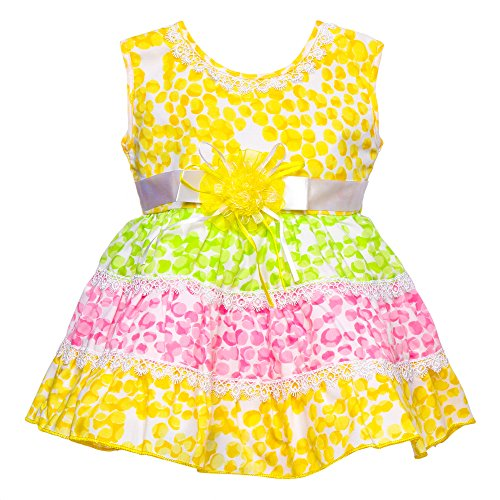 !!..Introductory Offer..!! Littly Baby Girl's Party Wear Little Petal Print Cotton Frock Dress With Panty (Yellow, 18 Months-24 Months)  available at amazon for Rs.399