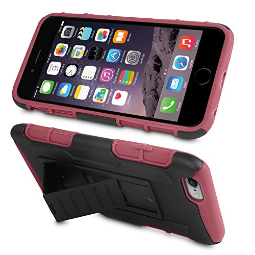 "Orzly® - Rugged Hybrid Stand Case for iPHONE 6 (4.7"") - HEAVY DUTY / HOCHLEISTUNGS Schutz Phone Case / Cover / Schutzhülle / HandyTasche in ROT auf SCHWARZ Farbe mit Vorder & Rückseitige Abdeckungs un ROT"