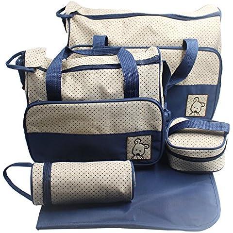 I Butterfiy kits Bolsa de Mama Para Bebe Biberon Bolso/Bolsa/Bolsillo Maternal Bebé para carro carrito biberón colchoneta comida pañal de color azul