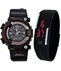 BLUE DIAMOND S-Shock Analog-Digital & Rubber LED Band For Boys & Girls Combo