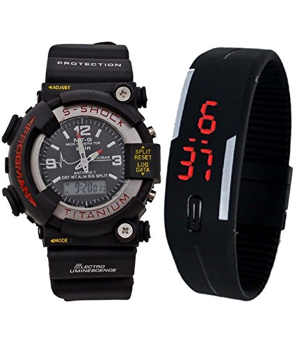 BLUE DIAMOND S-Shock Analog-Digital & Rubber LED Dial for Kids (Combo of 2) - BLUE DIAMOND13