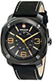 Wenger Escort Men's Quartz Watch with Black Dial Analogue Display and Black Leather Strap 011051106