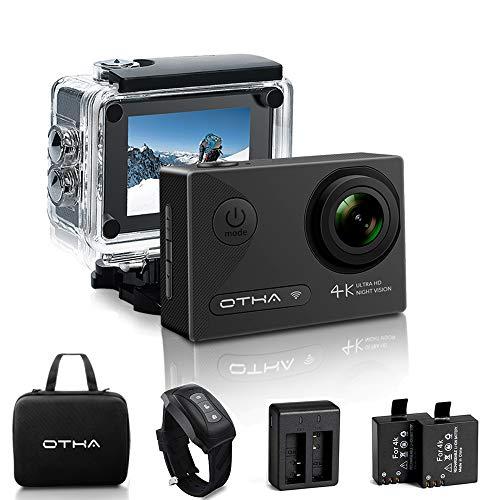 OTHA Action Kamera Sports Cam 4K Wi-Fi Ultra Full HD 16MP Nachtsicht Unterwasserkamera 170° Weitwinkel Helmkamera mit 2 Akkus und Fernbedienung, Transporttasche und Kostenlose Zubehoer