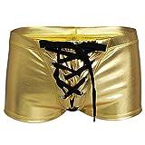 Freebily Männer Unterwäsche Herren Shorts glänzend Wetlook Clubwear Shorts Pants Unterhose Slips BoxerShorts Reizwäsche Erotik Wäsche Golden L