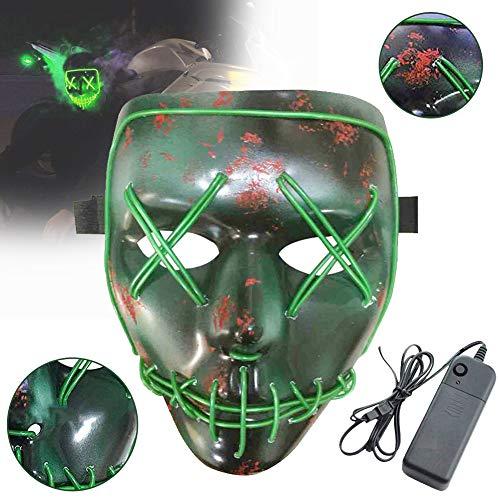 Masken, Erschreckend LED leuchten Maske Reinigung Gesicht Maske EL Draht für Festival Cosplay Halloween Kostüm ()