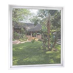 MYCARBON Fliegengitter Fenster 2-er Set 120 * 120cm | Zuschneidbar ohne Bohren Klebmontage | Weiß Anthrazit Durchsichtig | Insektenschutz Fenster Fliegenvorhang Moskitonetz
