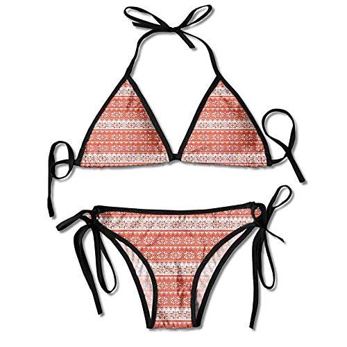 Women's Printing Bikini,Stitch Needlework Pattern Vintage Sexy Bikini 2 Pieces Stitch Stripe Tie
