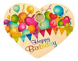Hess 15619-cumpleaños Corazón de Madera, Happy Birthday, Aprox. 12x 10cm