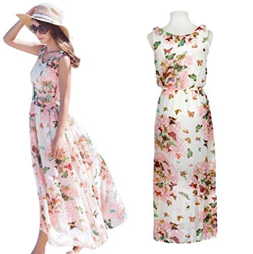 Sannysis Vestidos para mujer, Boho vestido largo de Beach, impresión de flor, sin mangas (Rosa)