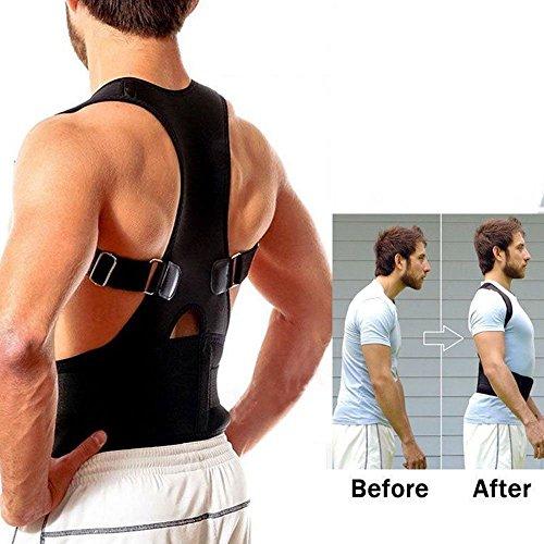 aptoco soporte de hombro postura Corrector magnético de neopreno transpirable cinturón correa para Dolor y lesiones Back L