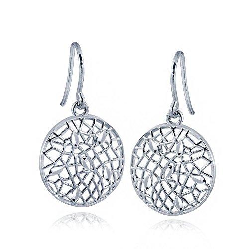 MATERIA Damen Ohrringe Silber 925 rhodiniert o. Rosegold - Blätter Ohrhänger ROSARIA rund mit Box #SO-256, Farbe:Silber