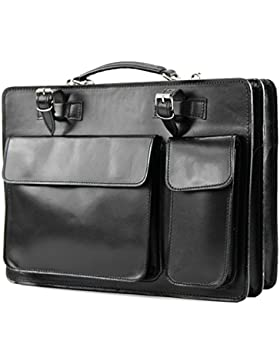 modamoda de - ital. Ledertasche DIN A4 Lackleder Kroko Prägung Business Aktenkoffer NL01