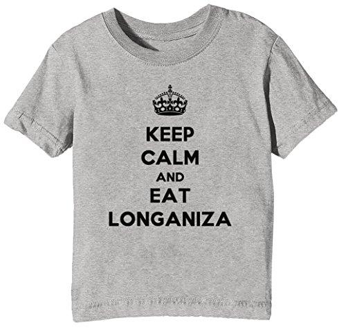Erido Keep Calm and Eat Longaniza Kinder Unisex Jungen Mädchen T-Shirt Rundhals Grau Kurzarm...