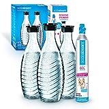Sodastream Promopack Zylinder mit Glaskaraffe (1 x CO2-Zylinder für 60L und 3 x 0,6L Glaskaraffe, Karaffe Glas, für Crystal und Penguin Wassersprudler, spülmaschinenfest) Reservepack