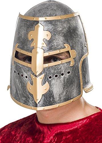 Smiffys, Unisex Mittelalterlicher Ritter Helm, One Size, Silber, 26570