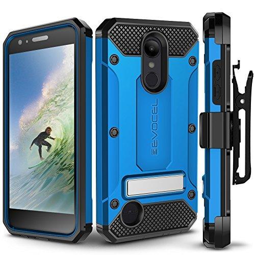 LG Aristo 2/LG Tribute Dynasty Fall, evocel [Explorer Serie Pro] mit Gratis [Glas Displayschutzfolie] Premium Full Body Hülle [Robuste Gürtelclip Holster] [Metallständer], Blau - T-mobile Telefono