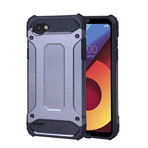 LG Q6 hülle,COOLKE Stoßfest Doppelschutz Heavy Duty Schutzhülle Soft Flex Silikon TPU + Schlanke PC Cover Case für LG Q6 - Grau