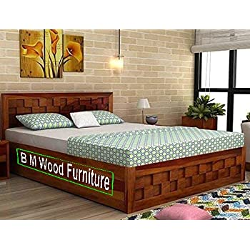 Incroyable BM WOOD FURNITURE Double Size Solid Wood Bed With Box Storage (Sheesham Wood    Dark