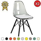 Promo 2 x Chaise Design Inspiration Eiffel Pieds Bois Noir Assise Transparent Gris Mobistyl® DSWB-TG-2