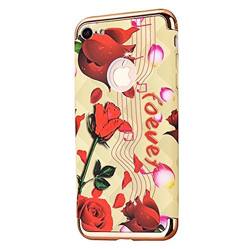 """Protecteur étui avec Détachable Plating Border pour Apple iPhone 6Plus/6sPlus 5.5""""(NON iPhone 6/6s 4.7""""), CLTPY Mode Beau Flower Impression Motif Nocturnes Lumineux Case en Dur Plastique, Ultra Fine S Notes et Rose"""