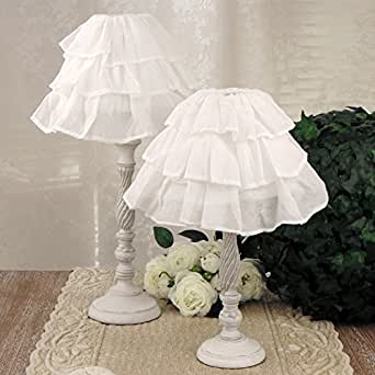 Lampada da tavolo Shabby Chic Fru Fru Collection Altezza 43 cm Blanc Mariclo