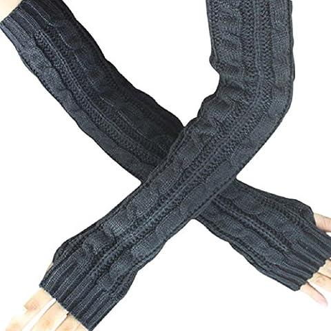 Gloves Transer® Hemp Flowers Fingerless Knitted Long Gloves for Presents/ Christmas Gifts (Navy)
