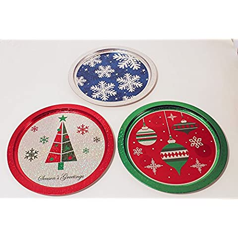 Glittery Rotondo Vassoio natalizio–Scatola di latta di metallo nuovo 975107–6Set di 3