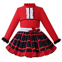 ceffb1603 Ju petitpop Girls Dress Christmas England Plaid Red Girls Princess Dress