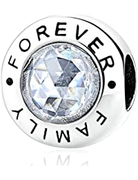 KISS ME in argento Sterling CZ Crystal charm bracciale famiglia gioielli
