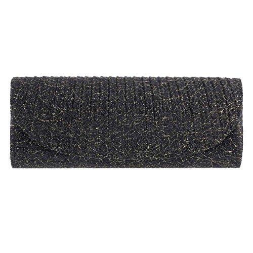 Damara Pochette Femme de Soirée Synthétique Long Rayure Créative Léger Sac à Main noir