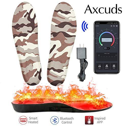 Axcuds Smart elektrisch beheizte Schuhe Einlegesohlen Fußwärmer APP Bluetooth-Fernbedienung mit Akku für die Jagd Angeln Wandern Camping Outdoor-Sport