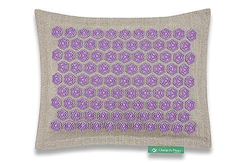 Coussin Champ de Fleurs Naturel-Violet