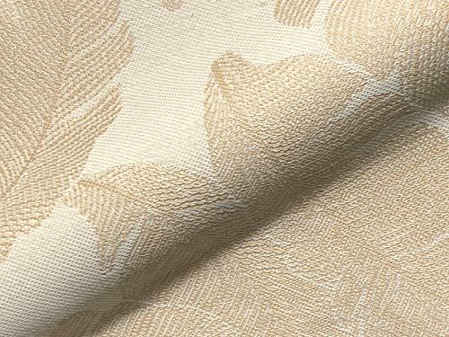 Raumausstatter.de Möbelstoff Outdoor Korsika 753 Blätter beige als robuster Bezugsstoff, Polsterstoff zum Nähen und Beziehen für Außen und Innen mit Fleckschutz -