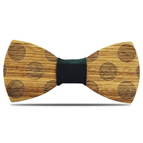 YFWOOD Wood Bow Tie, Men's Wood Bow Tie Handcrafted Natural Wooden Wave Wedding Tie Stylish Bow Tie With 2 Fabric Centerpiece in Gift Box