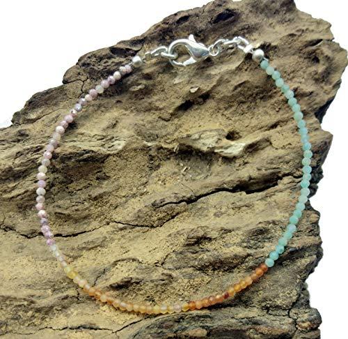LOVEKUSH - Pulsera de gemas (75% de cornalina, rodocrosita, bañada en plata de 1,5 mm, Rondelle y facetado, 17,78 cm de largo) BG18