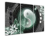 Declina, Tableau Decoration Murale Salon Moderne, Cadres decoratif Mural,Tableau Toile triptyque Le Ying ET Le Yang 120x80 cm Vert