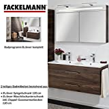 Fackelmann de muebles de baño Set B. Clever de 2piezas 120cm marrón con lavabo armario con doble de fundido (mármol & LED Armario con espejo