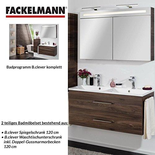 Fackelmann Badmöbel Set B.Clever 2-tlg. 120 cm braun mit Waschtisch Unterschrank inkl. Doppel-Gussmarmorbecken & LED Spiegelschrank