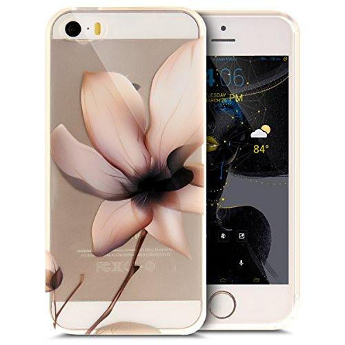 iPhone 5S Hülle,iPhone SE Hülle,iPhone 5 Hülle,iPhone SE 5S 5 Schutzhülle Case,ikasus® TPU Silikon Schutzhülle Case Hülle für iPhone SE 5S 5,Durchsichtig mit Bunte Kunst Gemaltes Muster Handyhülle iPh Rosa Blumen