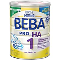 Nestlé BEBA Pro Ha 1 Anfangsnahrung, von Geburt an, Hypoallergene Pulver, wiederverschließbar mit praktischer Löffelablage, 6er Pack (6 x 800 g)