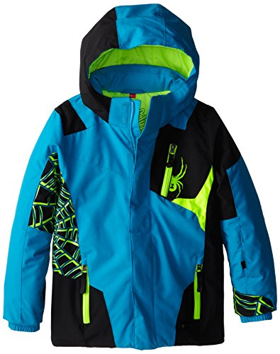 Spyder Jungen Mini Challenger Jacke, Jungen, Electric Blue/Black/Bryte Green (Skibekleidung Für Kinder Spyder)